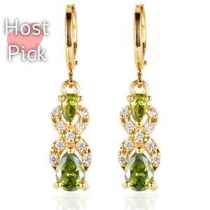 🎀18k Peridot Diamond Accent Drop Earrings